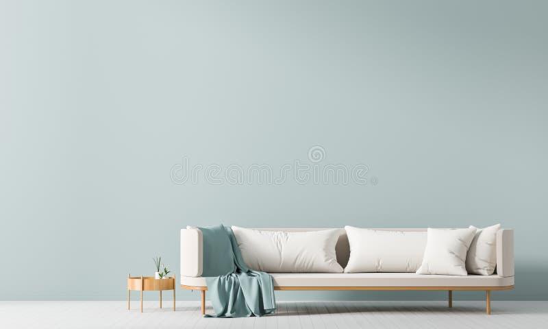 空的墙壁嘲笑在斯堪的纳维亚样式内部与沙发 E 3d?? 皇族释放例证