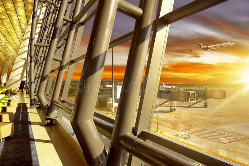 空的大厅在机场 库存照片