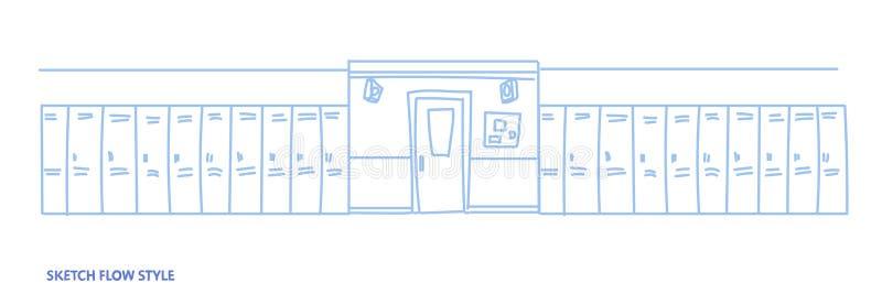 空的学校走廊内部与衣物柜空的ho人大厅剪影流程的样式行水平 库存例证