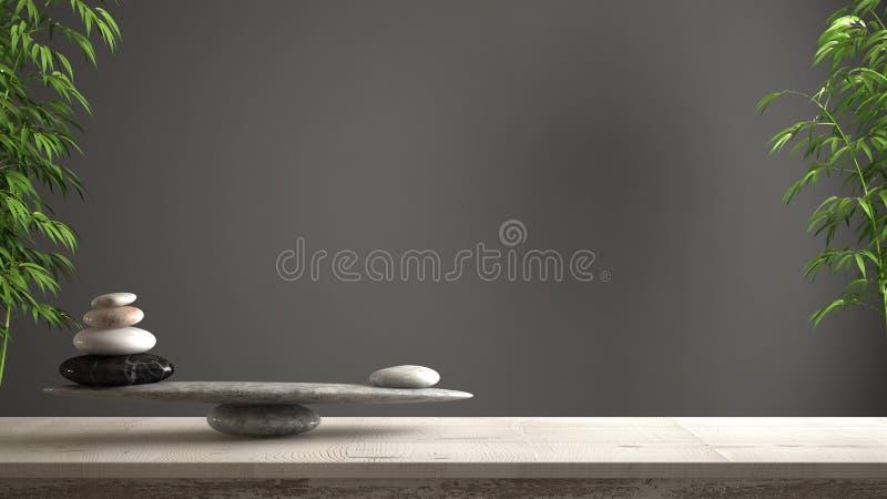 空的室内设计概念、风水、禅宗想法、木葡萄酒桌或者架子与大理石石平衡在深灰backgro 库存例证