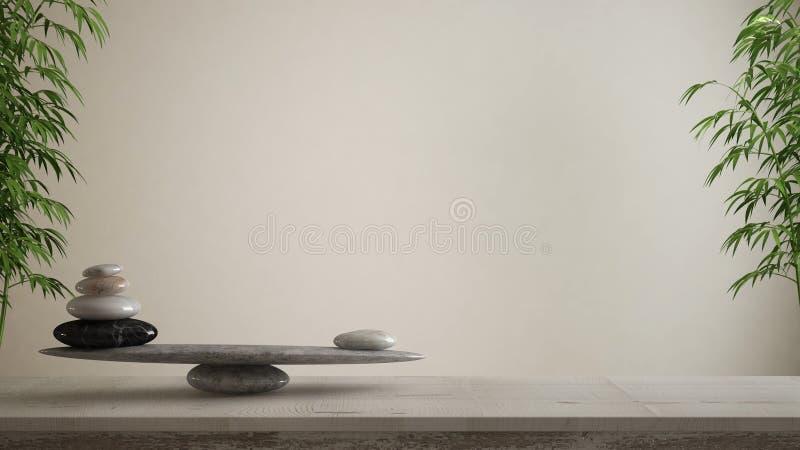 空的室内设计概念、风水、禅宗想法、木葡萄酒桌或者架子与大理石石平衡在空白的白色backg 皇族释放例证