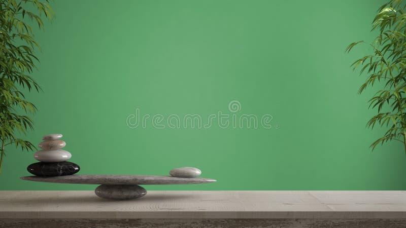 空的室内设计概念、风水、禅宗想法、木葡萄酒桌或者架子与大理石石平衡在绿色背景 免版税库存图片