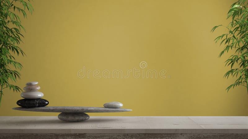 空的室内设计概念、风水、禅宗想法、木葡萄酒桌或者架子与大理石石平衡在黄色背景 皇族释放例证