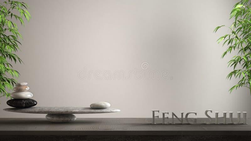 空的室内设计概念禅宗想法、木葡萄酒桌或者做词市分的架子与大理石石平衡和3d信件 皇族释放例证