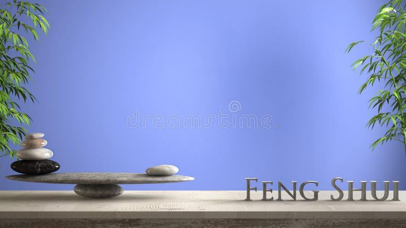 空的室内设计概念禅宗想法、木葡萄酒桌或者做词市分的架子与大理石石平衡和3d信件 库存例证