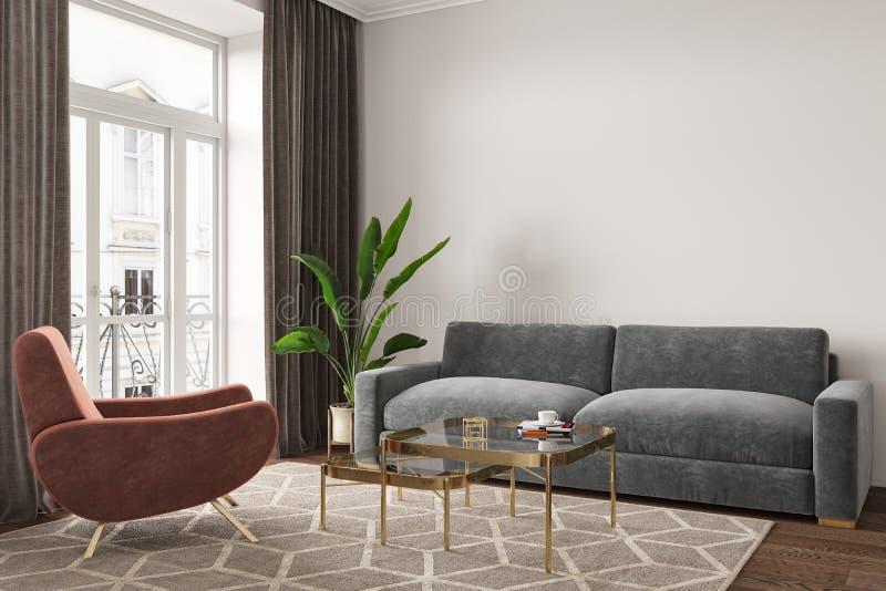 空的室内部与沙发、扶手椅子、桌、地毯和植物 向量例证
