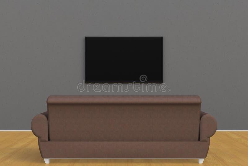 空的室内部有电视和沙发的,客厅带领了在灰色墙壁现代样式的电视 免版税库存照片