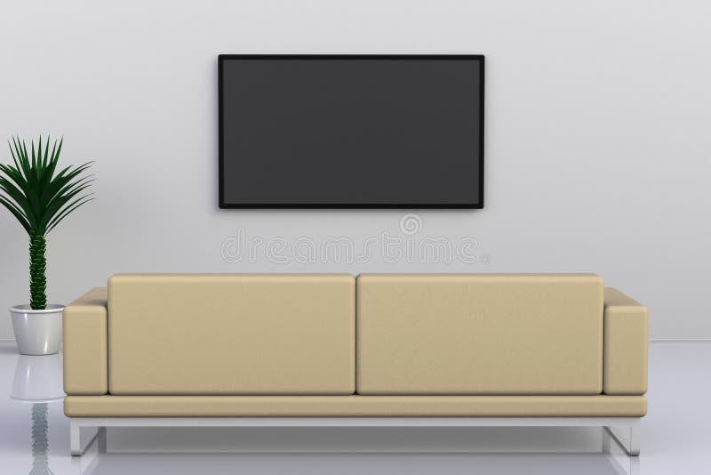 空的室内部有电视和沙发的,客厅带领了在白色墙壁现代样式的电视 皇族释放例证