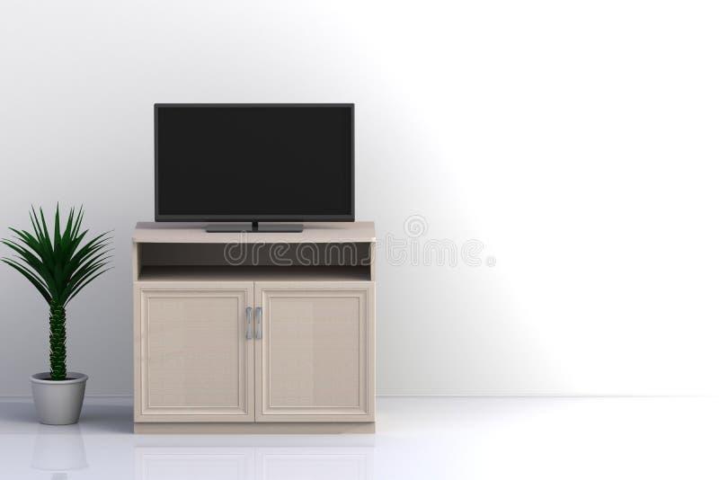 空的室内部有电视的,客厅带领了在白色墙壁上的电视有木桌现代顶楼样式的 库存图片