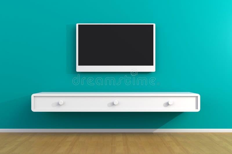 空的室内部有电视的,客厅带领了在蓝色墙壁上的电视有木桌现代顶楼样式的 免版税库存照片