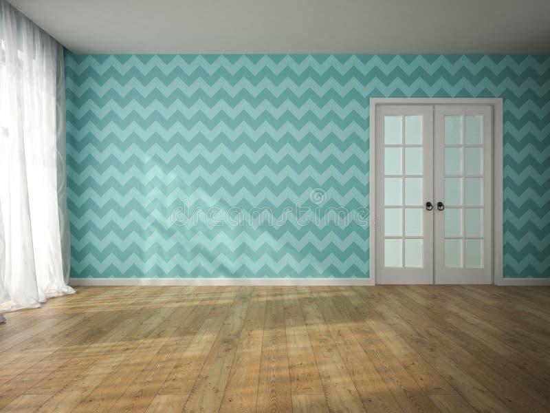 空的室内部有蓝色墙纸和门3D翻译的 免版税库存图片