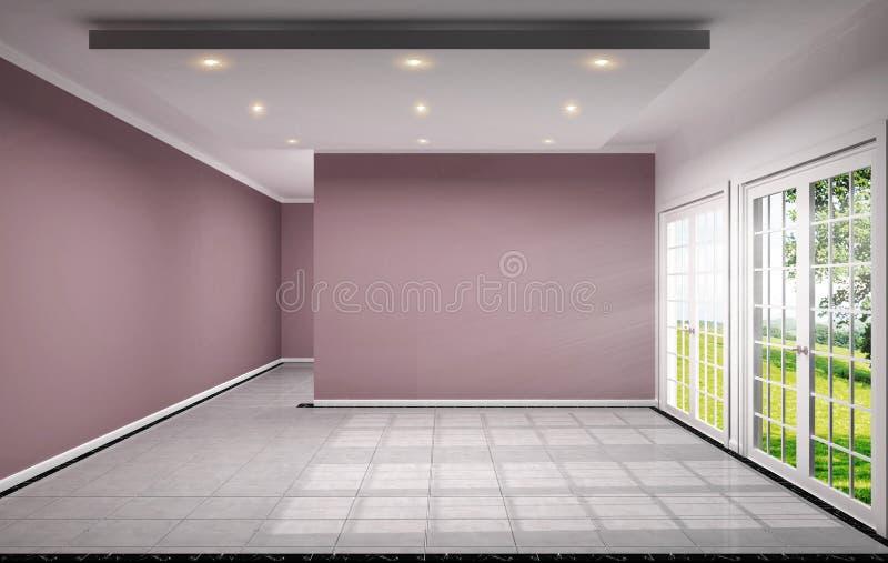 空的室室内设计有在瓦片设计3D翻译的桃红色墙壁 向量例证