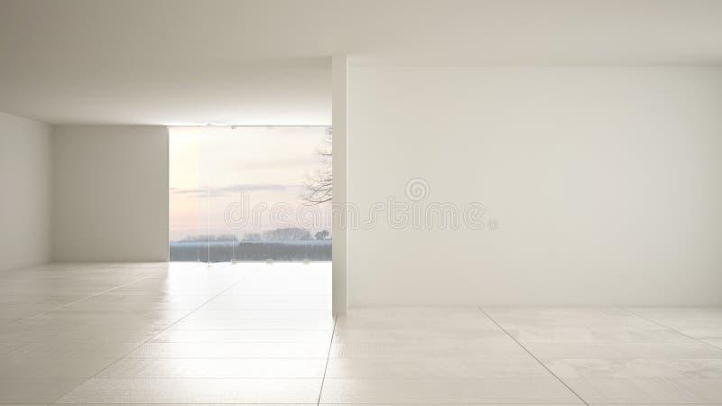 空的室室内设计,与大全景窗口的露天场所在有雪的,奶油色大理石砖地冬天草甸,现代 皇族释放例证