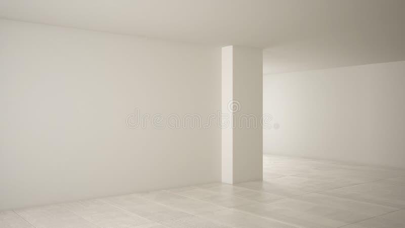 空的室室内设计,与大全景窗口的露天场所在有雪的,奶油色大理石砖地冬天草甸,现代 向量例证