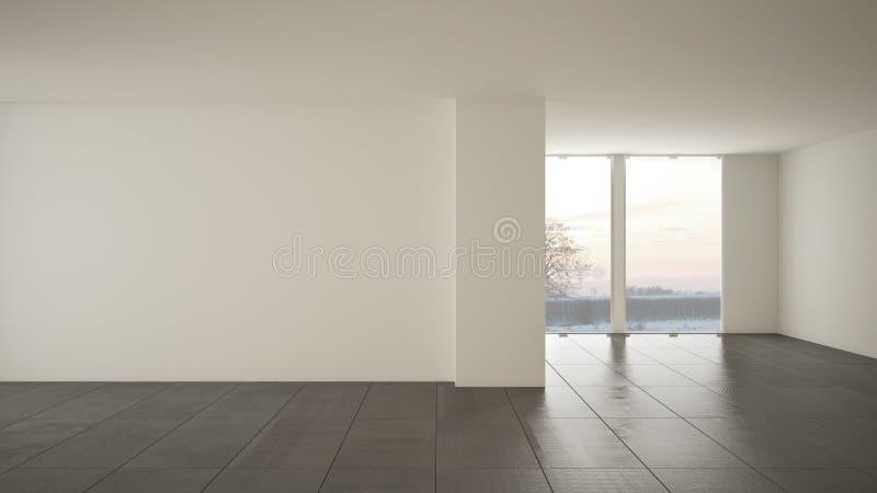 空的室室内设计,与大全景窗口的露天场所在有雪的,深灰大理石砖地冬天草甸,现代 库存例证