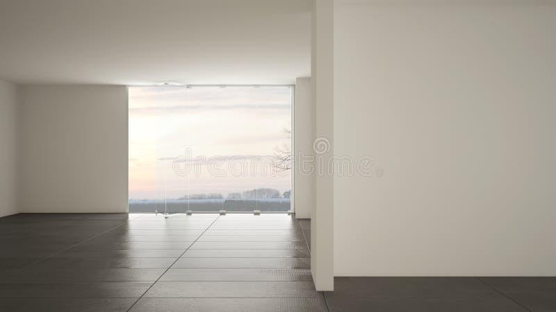 空的室室内设计,与大全景窗口的露天场所在有雪的,深灰大理石砖地冬天草甸,现代 向量例证