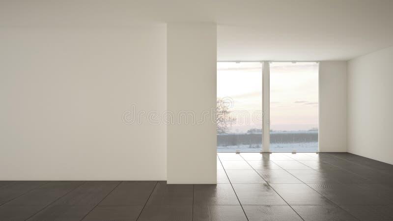 空的室室内设计,与大全景窗口的露天场所在有雪的,深灰大理石砖地冬天草甸,现代 皇族释放例证