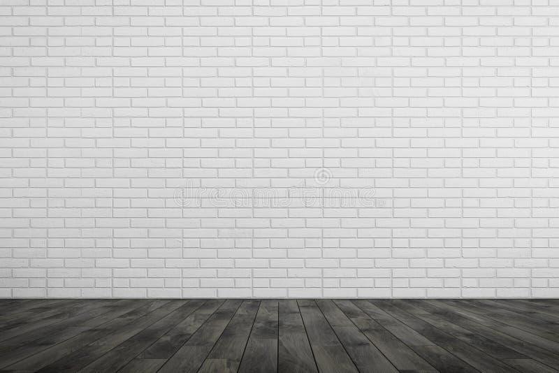 空的室白色砖墙,黑木地板 库存例证