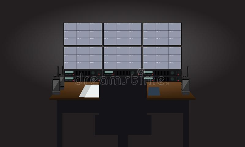 空的工作场所治安警卫室 显示监视器视图的电视机 平的颜色样式传染媒介例证 皇族释放例证
