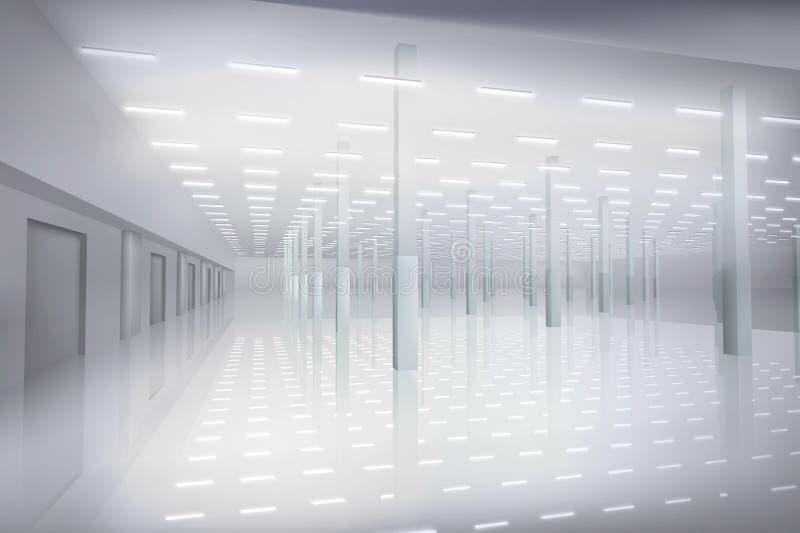 空的工厂大厅 内部白色 也corel凹道例证向量 皇族释放例证