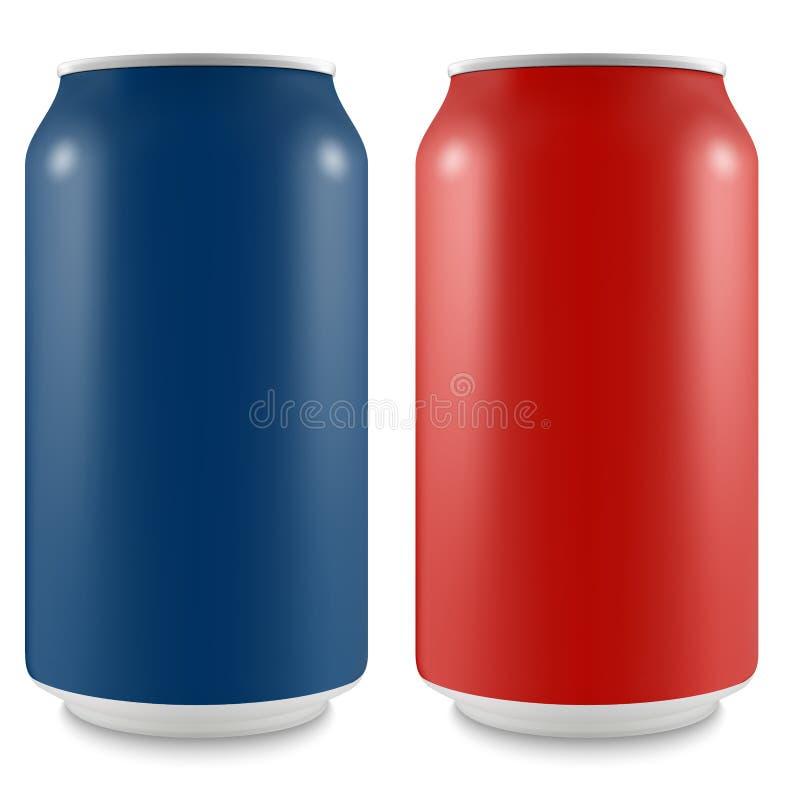 空的布局的铝罐您的设计的 库存例证