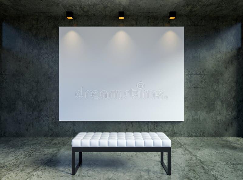 空的帆布海报框架的嘲笑在现代顶楼画廊内部backgrond 皇族释放例证
