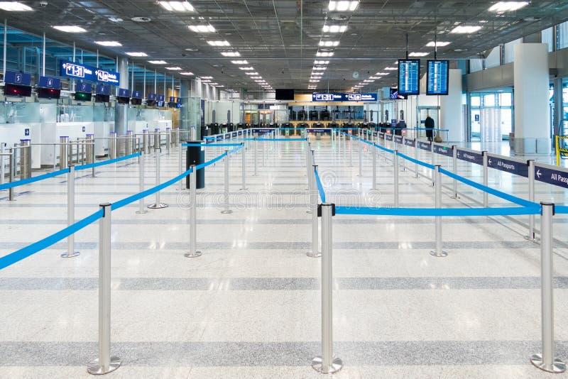 空的护照管制在机场 免版税库存照片