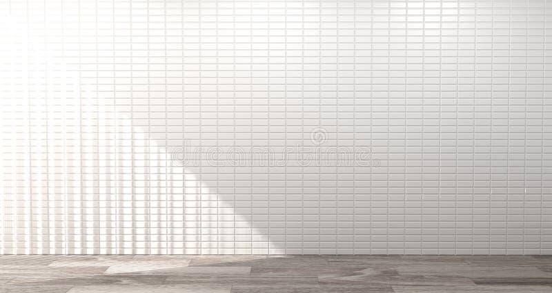 空的拷贝空间的厨房室白色墙壁3d翻译家现代食物餐馆背景 向量例证