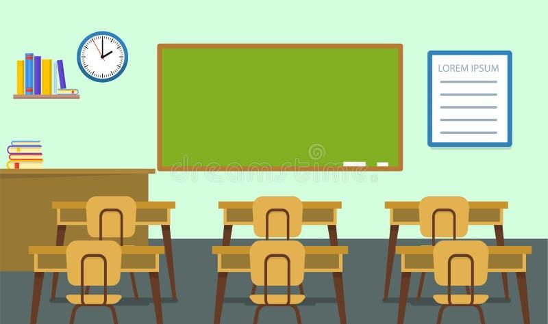 空的教室背景,平的样式 向量例证