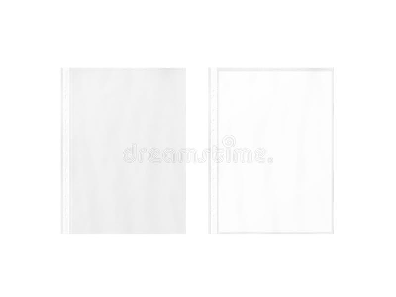 空的文件保护者和空白的白色A4裱糊板料大模型 库存图片