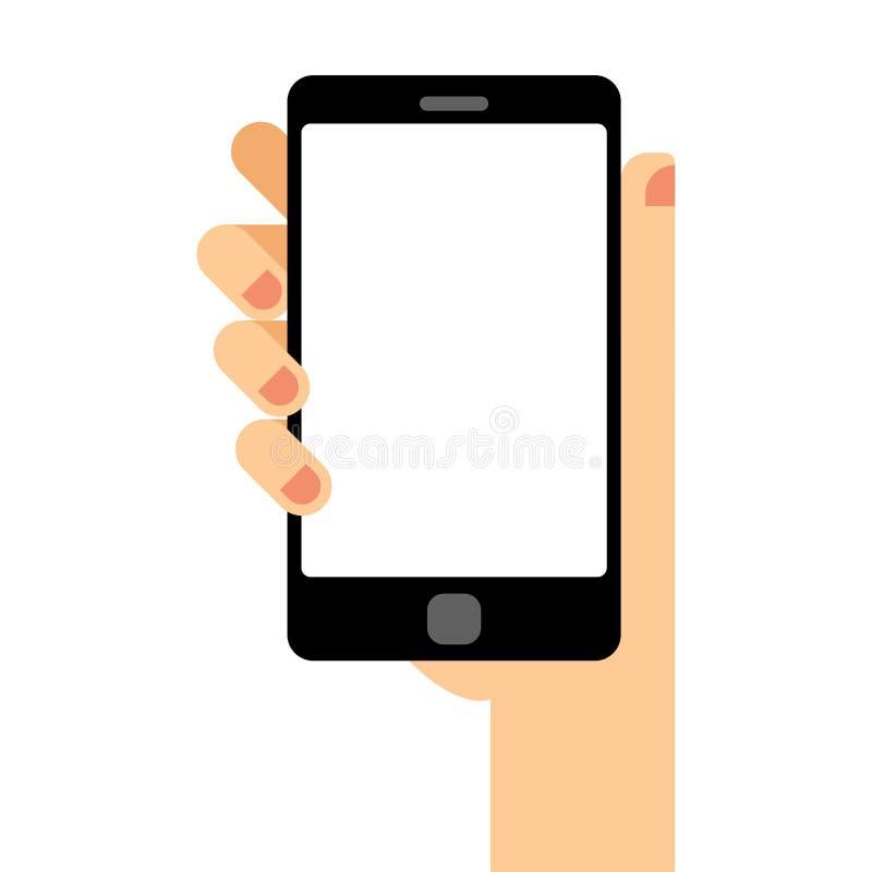 空的智能手机屏幕 手拿着智能手机 现代平的设计例证 向量例证