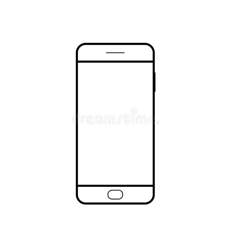 空的智能手机象 手机标志 流动小配件, PDA模板 向量例证