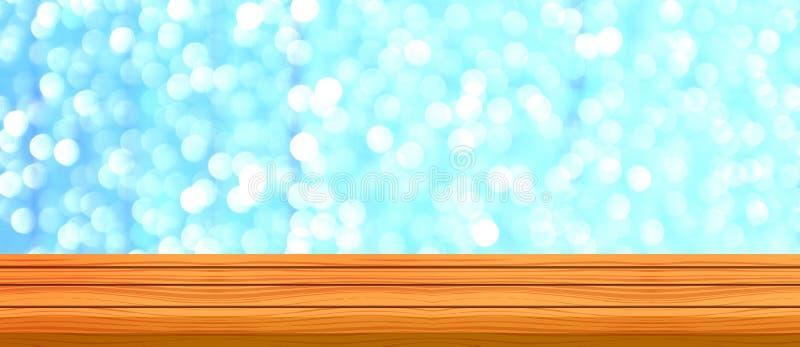 空的木桌和被弄脏的现代蓝色背景,餐馆 免版税库存图片