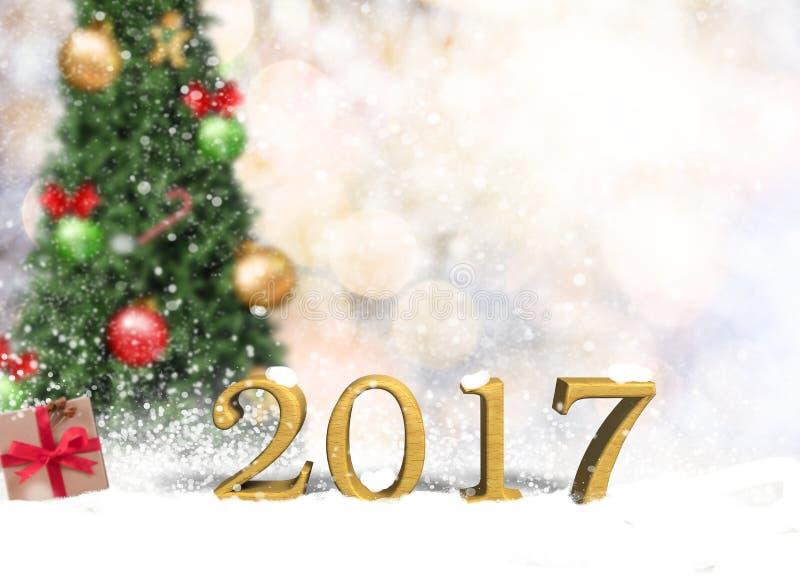 空的木桌在圣诞节bokeh墙壁上的新年快乐2017年 免版税库存图片