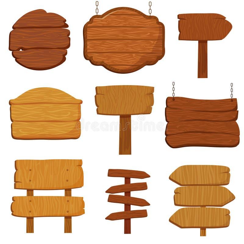 空的木横幅和路标 木牌被隔绝的传染媒介收藏 向量例证