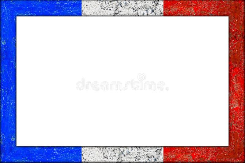 空的木画框法国旗子设计 免版税图库摄影