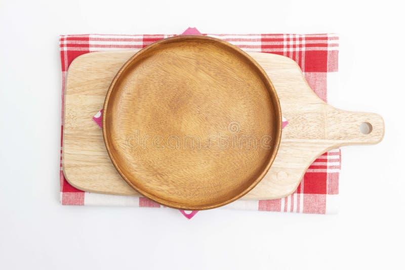 空的木盘和木切板 免版税库存图片