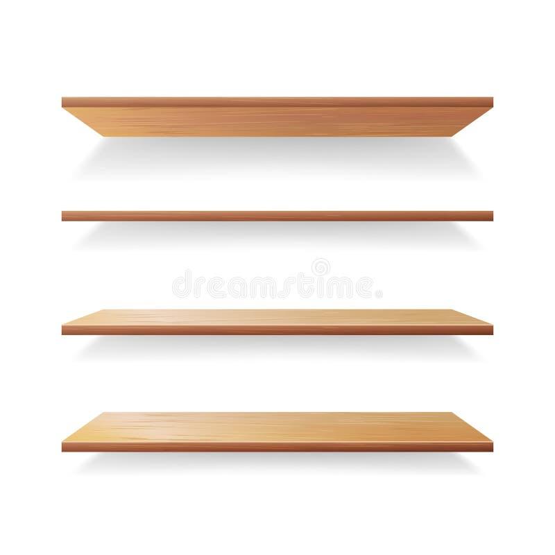 空的木头架子模板传染媒介集合 隔绝在与阴影的白色背景 向量例证