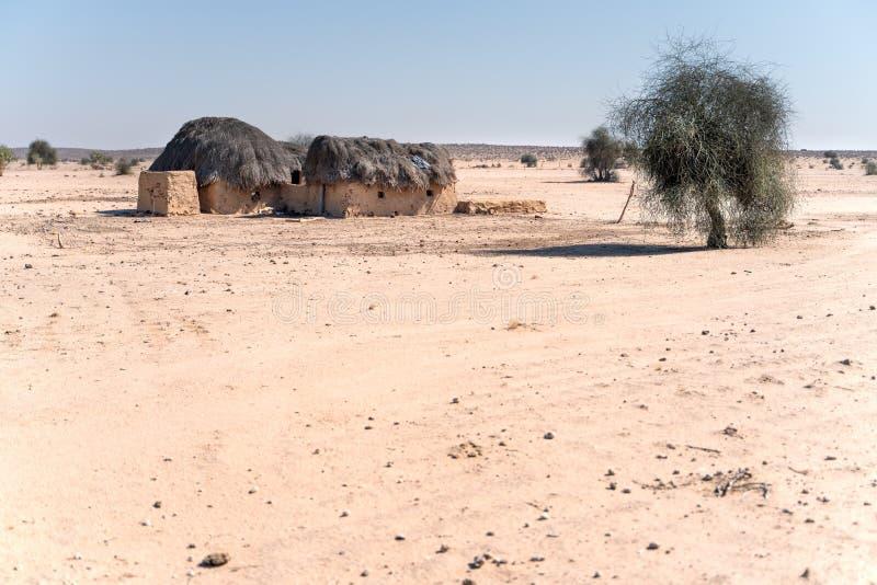 空的村庄在印度沙漠 免版税图库摄影