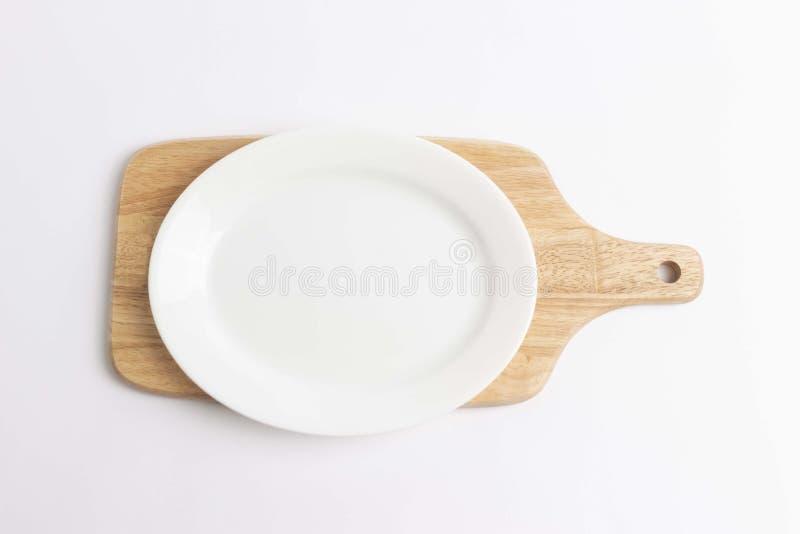 空的板材,在白色背景的木切板 免版税库存图片