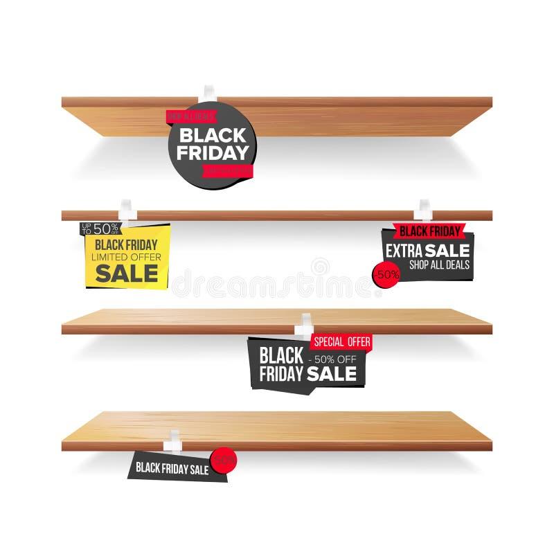 空的架子,黑星期五销售广告晃摇物传染媒介 零售概念 黑星期五折扣贴纸 销售额 向量例证