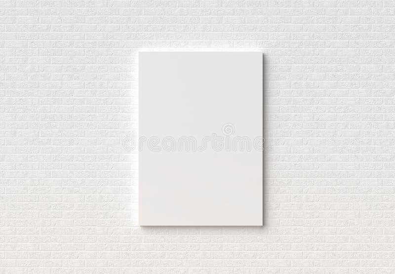 空的框架嘲笑在白色砖墙上 3D说明 免版税图库摄影