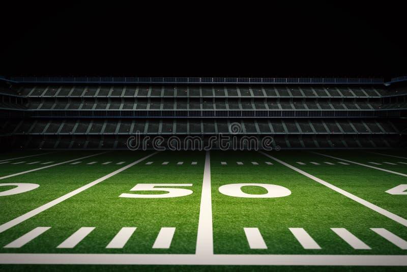 空的橄榄球体育场在晚上 皇族释放例证