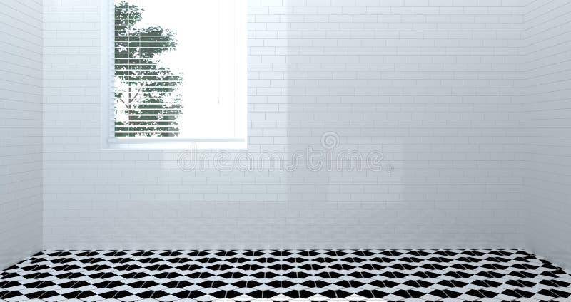 空的洗手间,阵雨,内部,阵雨,拷贝空间的室白色墙壁3d翻译家现代卫生间背景 库存例证