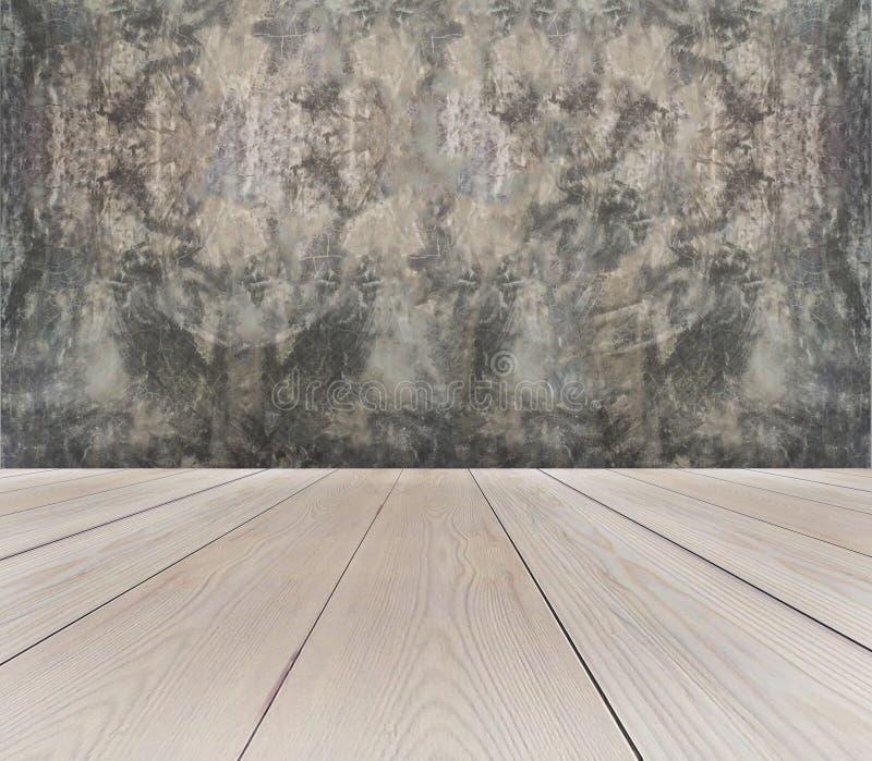 空的浅褐色的木大阳台透视图与抽象作为葡萄酒使用的难看的东西灰色混凝土墙背景纹理的Te 免版税图库摄影