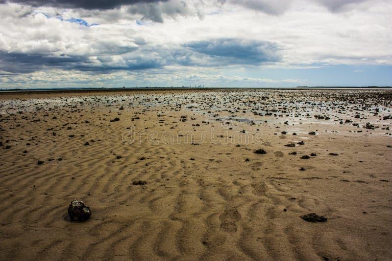 空的海洋,潮汐区在澳大利亚,昆士兰惠灵顿点 免版税图库摄影
