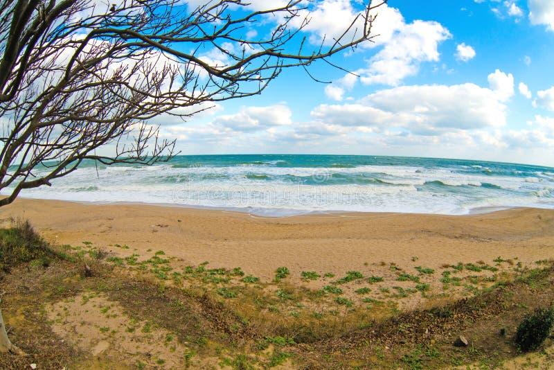 空的海滩在秋天之前 免版税库存图片