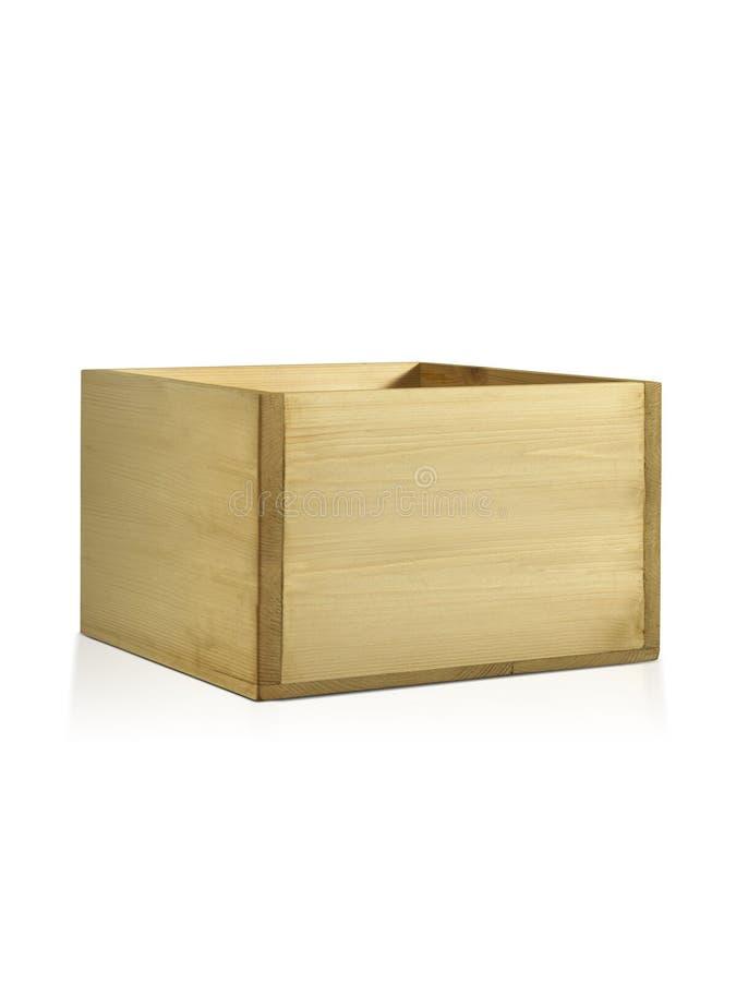 空的淡黄色木箱 做杉木,隔绝在白色背景 库存图片