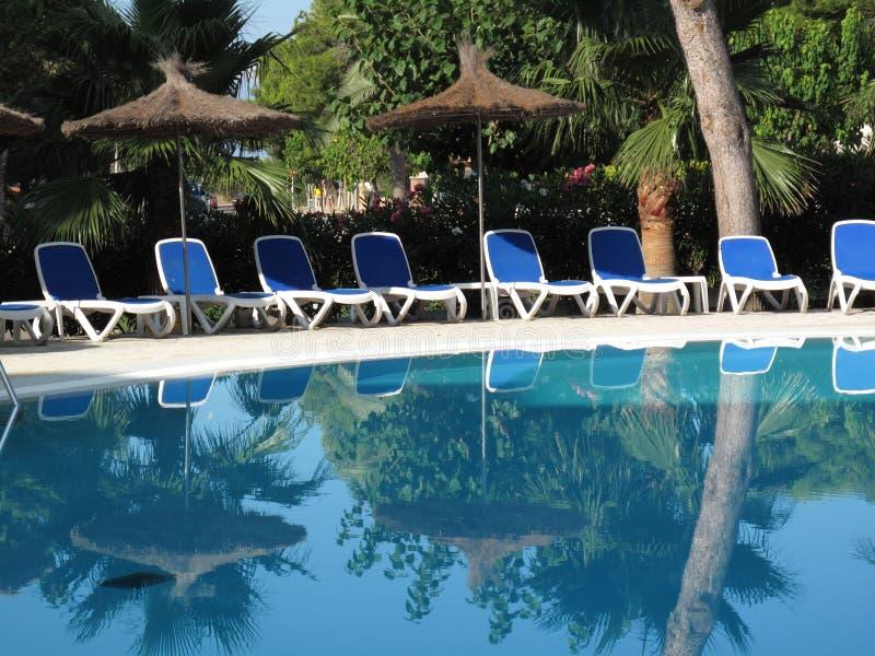 空的游泳池在清早 免版税库存照片