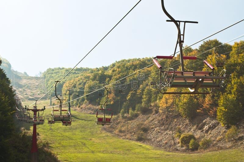 空的滑雪电缆车 库存照片